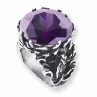 Stainless Steel Round Purple CZ and Fish Ring