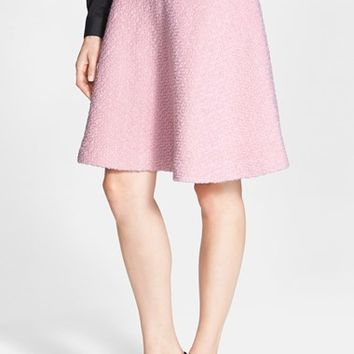 Women's Pink Tartan Wool Blend Boucle Circle Skirt