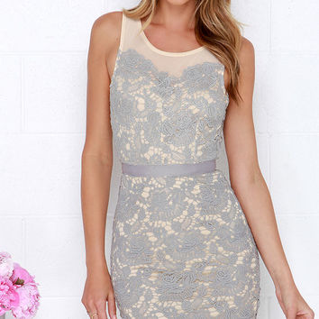My Wildest Dreams Grey Lace Dress