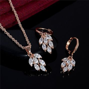 H:HYDE Wedding Jewellery Set Gold Color White Cubic Zirconia Charming Leaf Necklace Earrings For Women Bridal Jewelry Sets