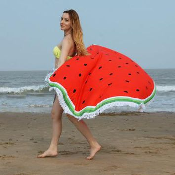 Fashion  Beach Towel Round Circle  Tassel Blankets Donut Pineapple Fruit Skull Bath Towel