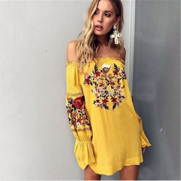 Boho Embroidery Floral Dress Chiffon Mini Off Shoulder Flower Short Lantern Long Sleeve Bohemian Dress
