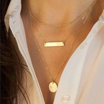 Hot Women Pendant Gold Chain Choker Chunky Statement Bib Necklace Jewelry Charm [8081685575]