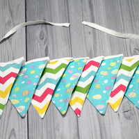 9 pennant Easter Banner. Flag Bunting. Multi Chevron and Ester Eggs. Baby Room Decor, Birthday, Baby Shower. Photo Prop. Easter
