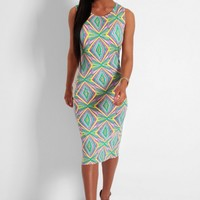 Kaleidoscope Multicolour Neon Geometric Print Midi Dress | Pink Boutique