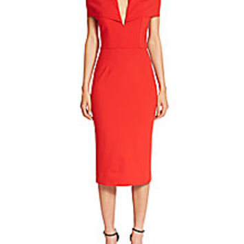 NICHOLAS - Ponte Shoulder Band V Dress - Saks Fifth Avenue Mobile