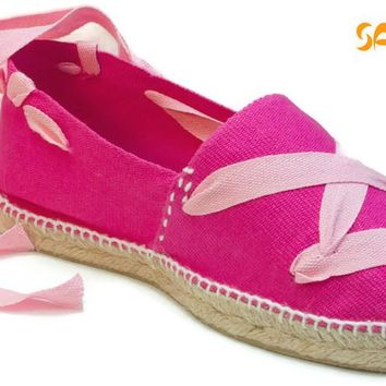 Fuchsia Espadrilles With Pink Laces