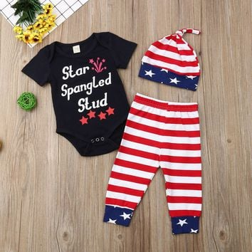 Star Spangled Stud Outfit Stripe Onesuit Pants And Beenie