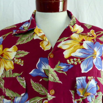 Aloha vintage 80s 90s Reyn Spooner burgundy red rayon hawaiian shirt bright yellow floral hibiscus flower pastel blue sage green print large