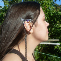 Silver Plated Handmade Wire Wrapped Elf Ear Cuffs With Seed Beads & Blue Swarovski Elements, Wire Weave, Pixie Ears, Elven Ears, LARP