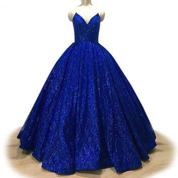 Sparkly Royal Blue Evening Dress Sequined V Sleeveless Gown ballgown