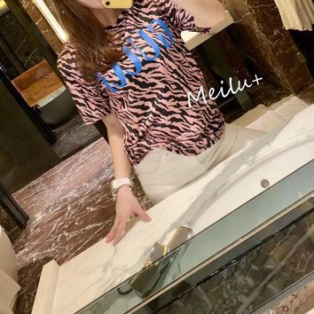 """Gucci"" Woman Casual Wild Fashion Letter Leopard Printing Spell Color Long Sleeve T-Shirt Tops"