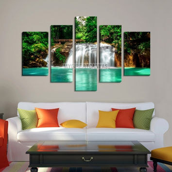 Large Wall Art Waterfall Canvas Print - Bright Waterfall and Turquoise Water in Green Forest
