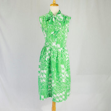 1960's Dress Vintage Green Atomic Print Bow Neck Day Dress Large