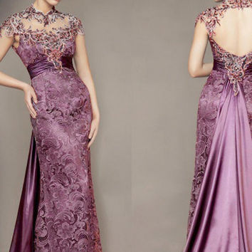 80' vintage wedding gown/stunning/graceful/romantic purple Venice lace wedding dress Stretch Satin inner/unique backless wedding outfit