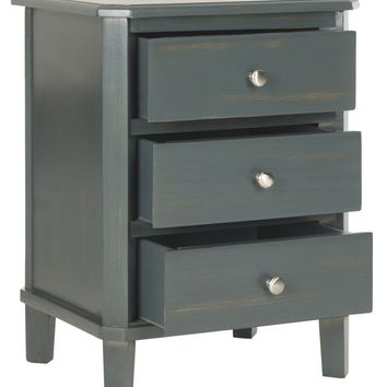 Joe End Table With Storage Drawers Steel Teal