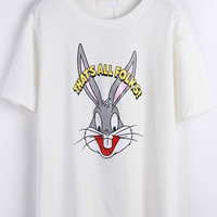 White Short Sleeve Bugs Bunny Print Graphic T-Shirt