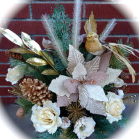 """Christmas Centerpiece in Decorative Metal Container """"Christmas Dreams"""",Christmas Arrangement, Christmas Dinning Table, Winter"""