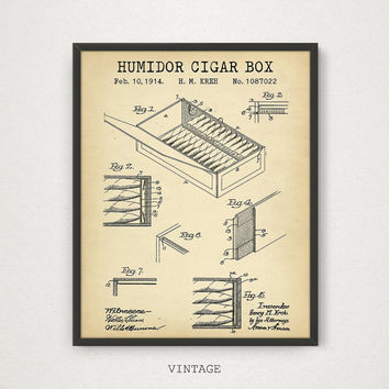 Cigar Humidor patent print, Digital Download, cigar box, cigarette case, husband gift, patent poster, gifts for him, mens gifts, Vintage Art
