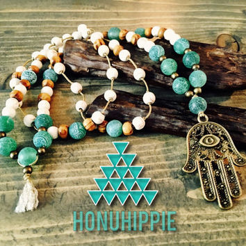 Hamsa hand necklace, long boho hippie yoga necklace