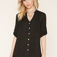 Pintucked Button-Down Blouse