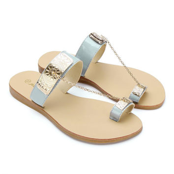 Metal Embellishment Flat Sandals With Chain