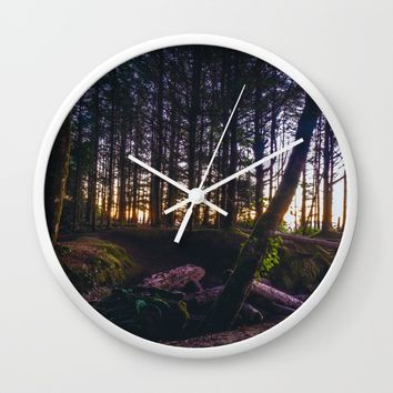 Wooded Tofino Wall Clock by Mixed Imagery