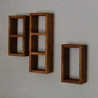 Simple shadow box shelf set recycled wood