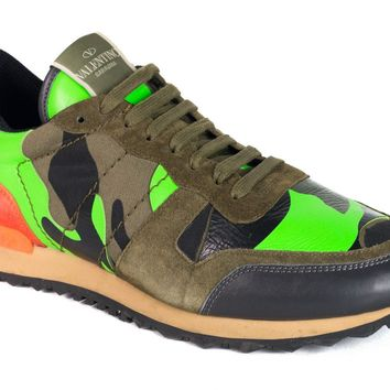 Valentino Mens Leather Mix Multicolor Camo Rockrunner Sneakers