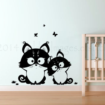 Two little kittens childrens wall decal, decal, wall sticker, wall graphic , vinyl decal, vinyl graphic wall decal, graphic image
