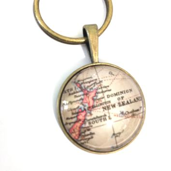 New Zealand Vintage Map Small Pendant