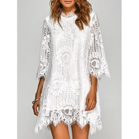 Irregular Hem Openwork Lace Dress