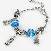 Silver Floral Butterfly And Crystal Glass Ball Letter Drop Bracelet