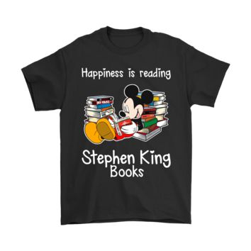 PEAPINY Mickey Mouse Happiness Is Reading Stephen King Shirts
