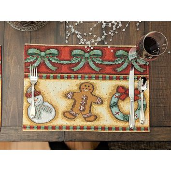 "DaDa Bedding Gingerbread Sweets Placemats, Set of 4 Holiday Tapestry 13"" x 19"" (12917)"