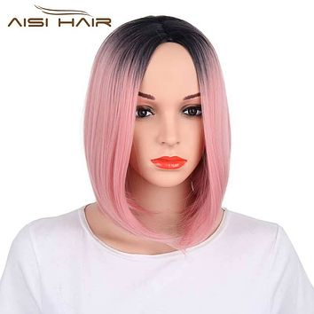 I's a wig Ombre Pink Bob Style Straight Synthetic Wigs for Black Women High temperature Fiber