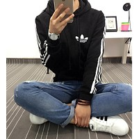 Adidas Women Fashion Hooded  Zip Cardigan Jacket Coat Sweatshirt