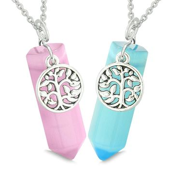Tree of Life Energy Love Couples or Best Friends Set Sky Blue Pink Simulated Cats Eye Amulet Necklaces