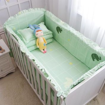 Baby 5 Piece Crib Bedding Set / Bumpers - 100 % Cotton - Free Shipping - Green Elephants