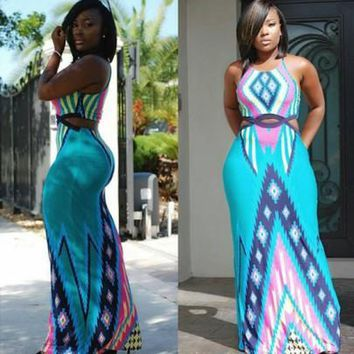 Blue Geometric Tribe African Print Aztec Hollow Waist Round Neck Floor Length Boho Maxi Dress