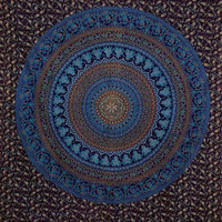 Elephant Wall Hanging, Mandala Tapestries, Queen Bedding, Dorm Tapestry, Large Wall Art, Blue Color Theme, Psychedelic Tapestry