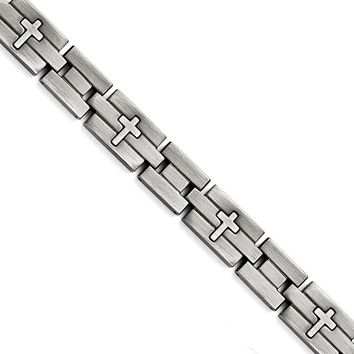 Stainless Steel Brushed and Antiqued Cross Bracelet