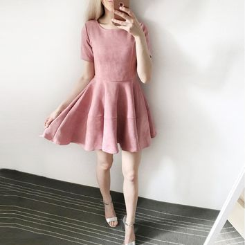 2017 NEW Fashion women sexy suede dresses O-neck short sleeve dress Causal Velvet Boho Dress Party Dresses Vestidos