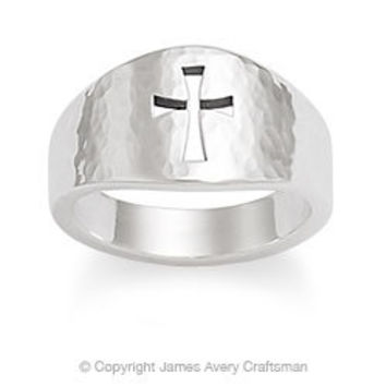 Hammered Wide Crosslet Ring from James Avery