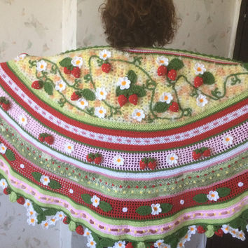 Huge ...XXXL...3D  Irish Crochet Strawberry  Shawl ...Freeform Shawl