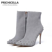 PRICHICELLA genuine leather grey suede pointed toe studded 10cm thin heels ankle boots size34-42