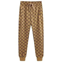 GUCCI 2019 new men and women models loose double g full logo brown sweatpants trousers