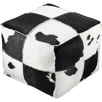 spotted cowhide pouf