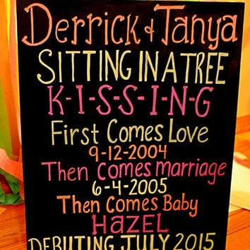 Baby announcement chalkboard, pregnancy chalkboard, Sitting in a Tree KISSING, Poster Sign, Photo Prop, first comes love, expecting baby,