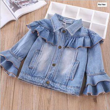 Y32088351 2018 Autumn Baby Jacket For Girls Jacket Denim Jacket for Girls Clothes Baby Outerwear Children Clothes Kids Clothes